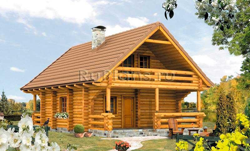 Проект одноэтажного деревянного дома с мансардой R148