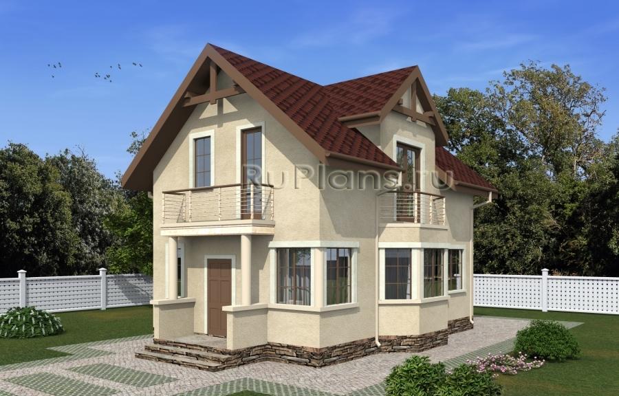 Проект одноэтажного дома с мансардой и эркером Rg5059