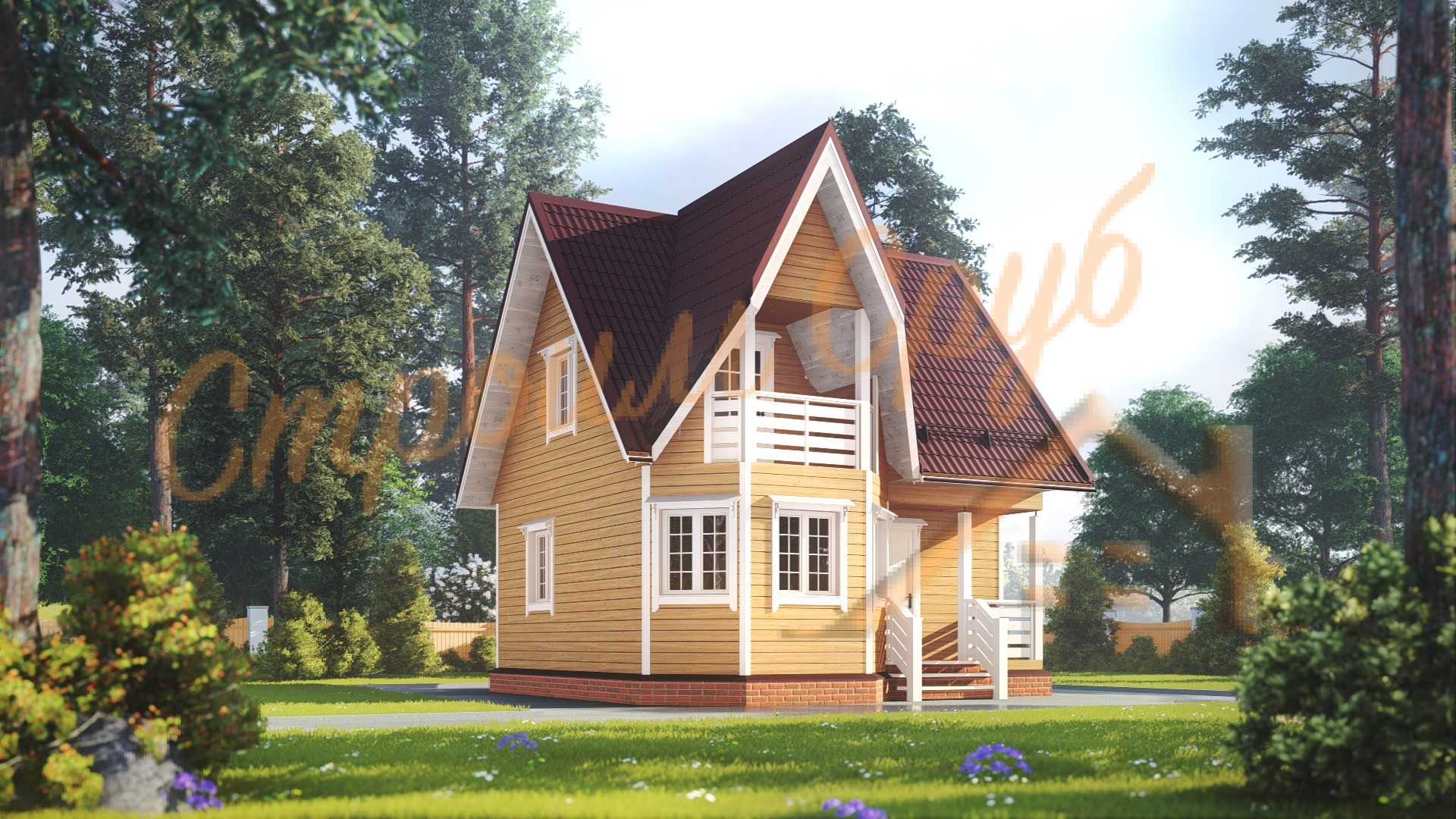 Дом из бруса 7х7 «Эстетичный»
