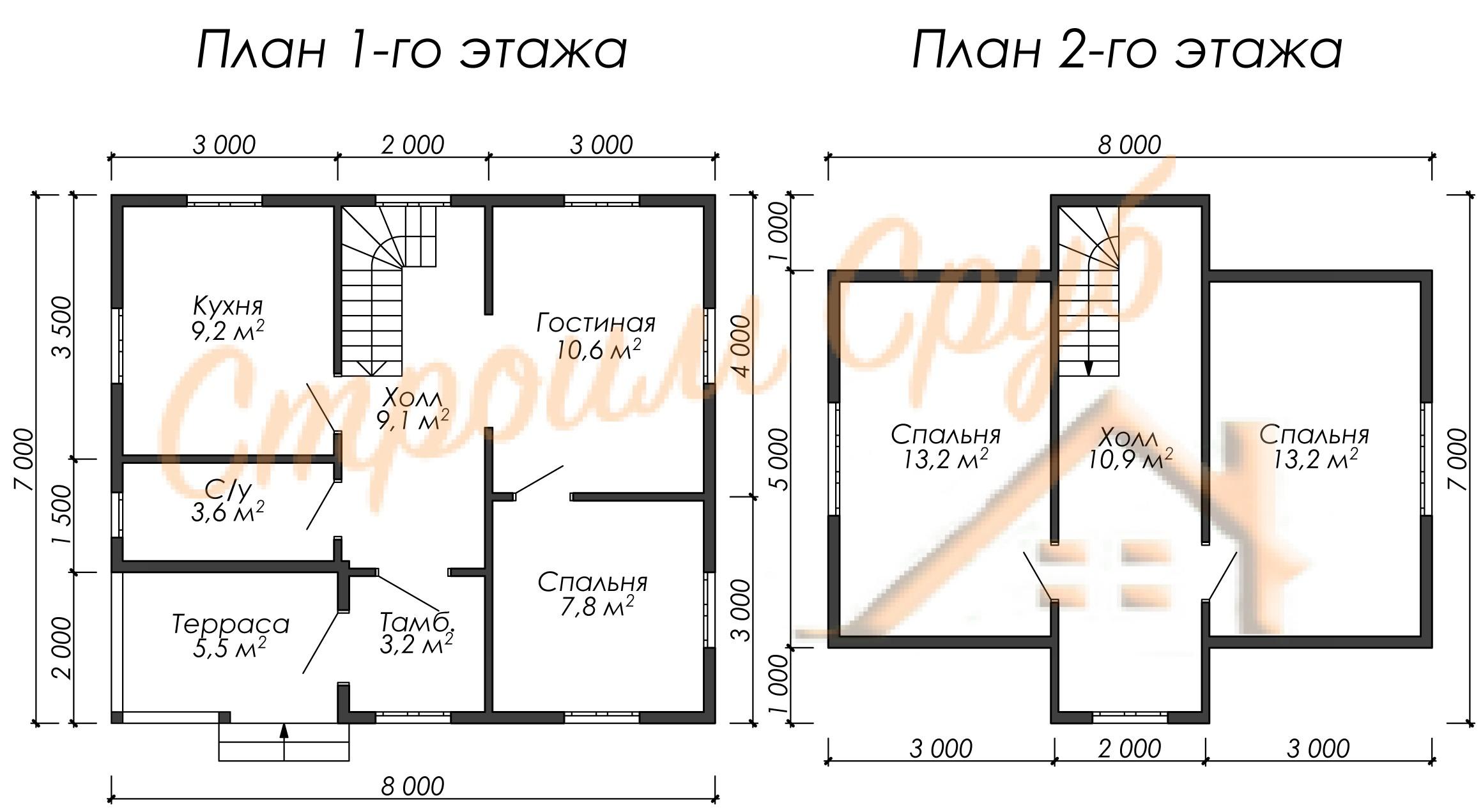 Дом из бруса 8х7 «Фермерский»