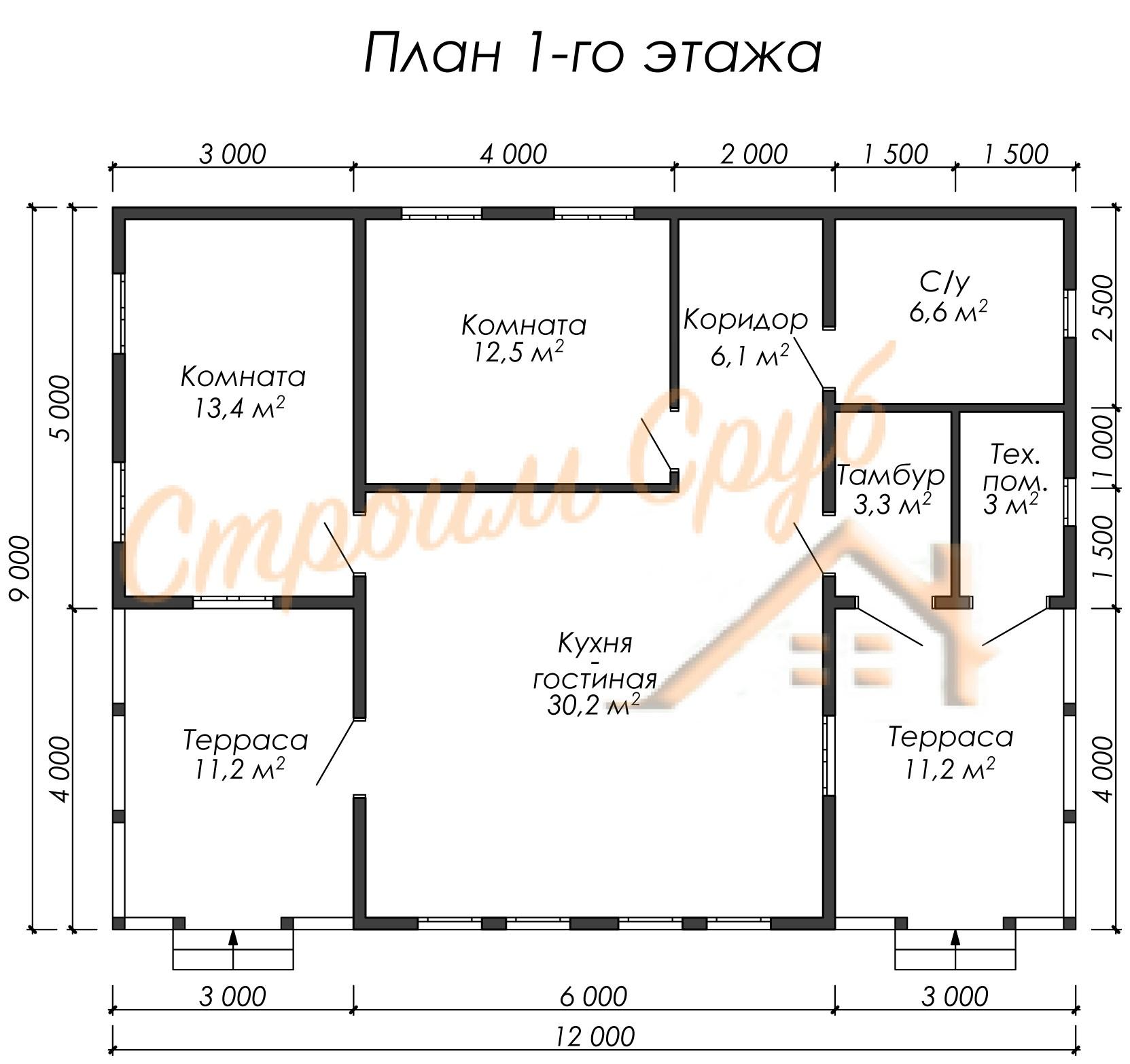 Дом из бруса 9х12 «Индивидуальный»
