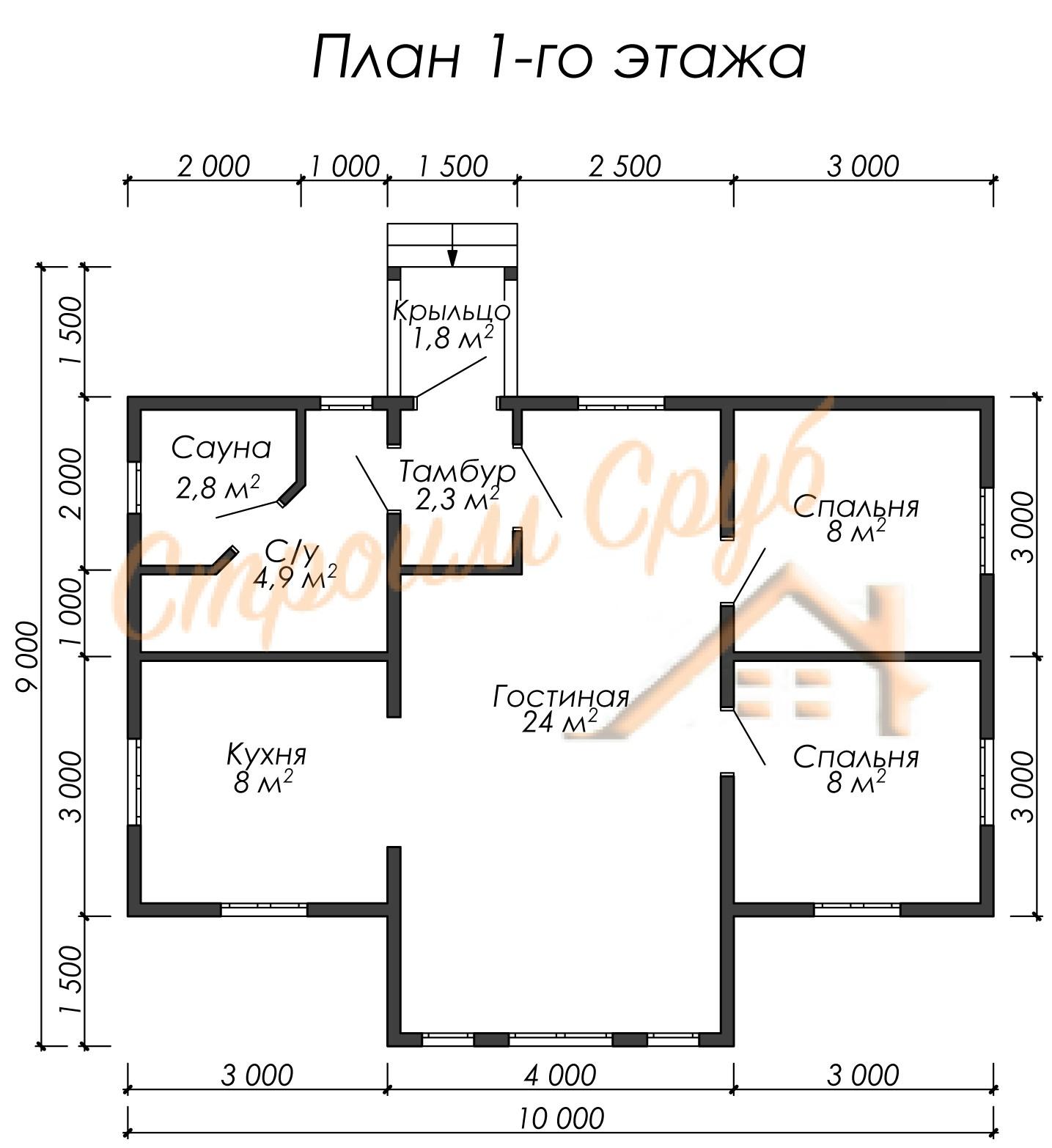 Дом из бруса 10х7,5 «Одноэтажный»