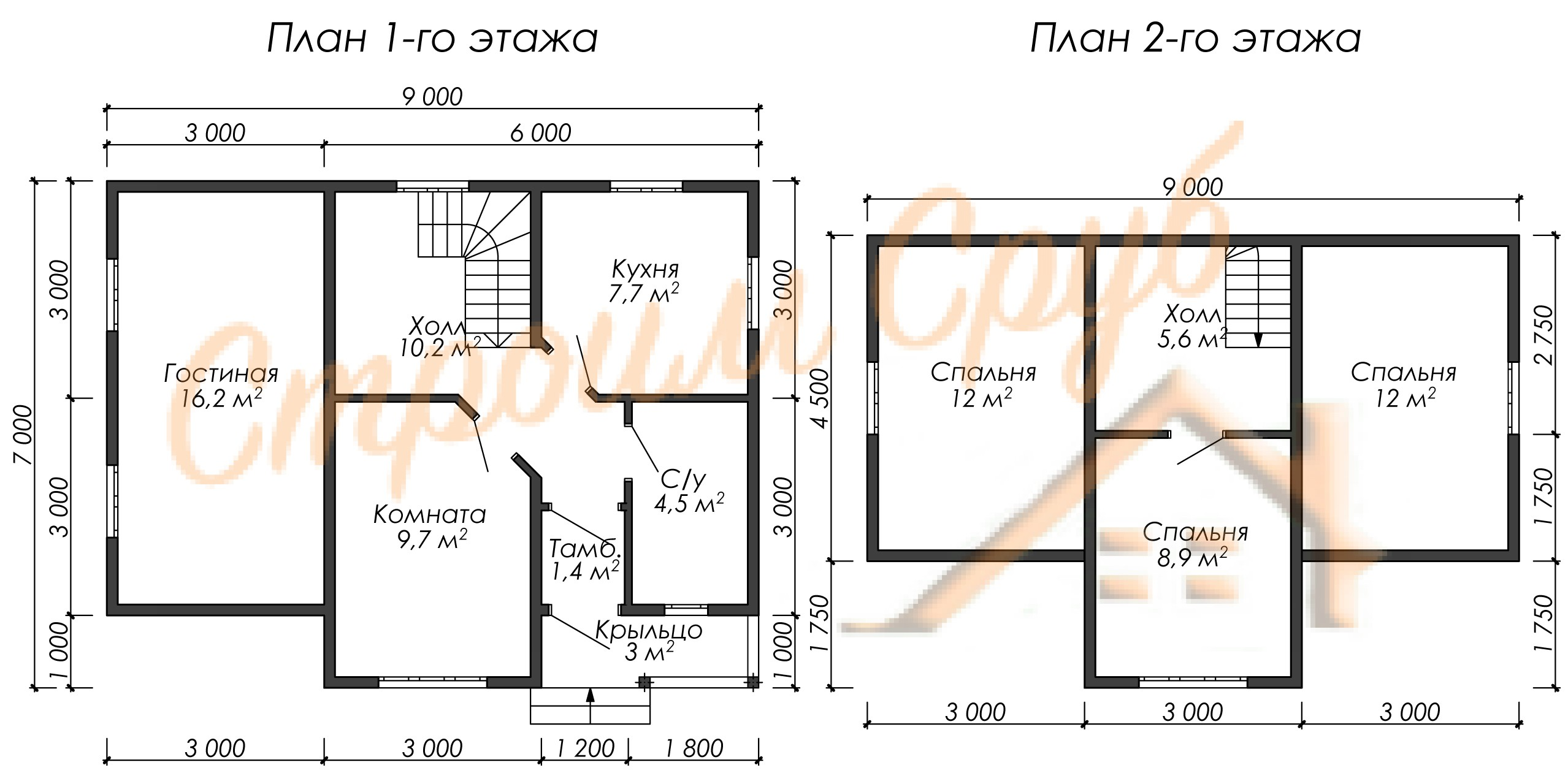 Дом из бруса 7х9 «Семейный»