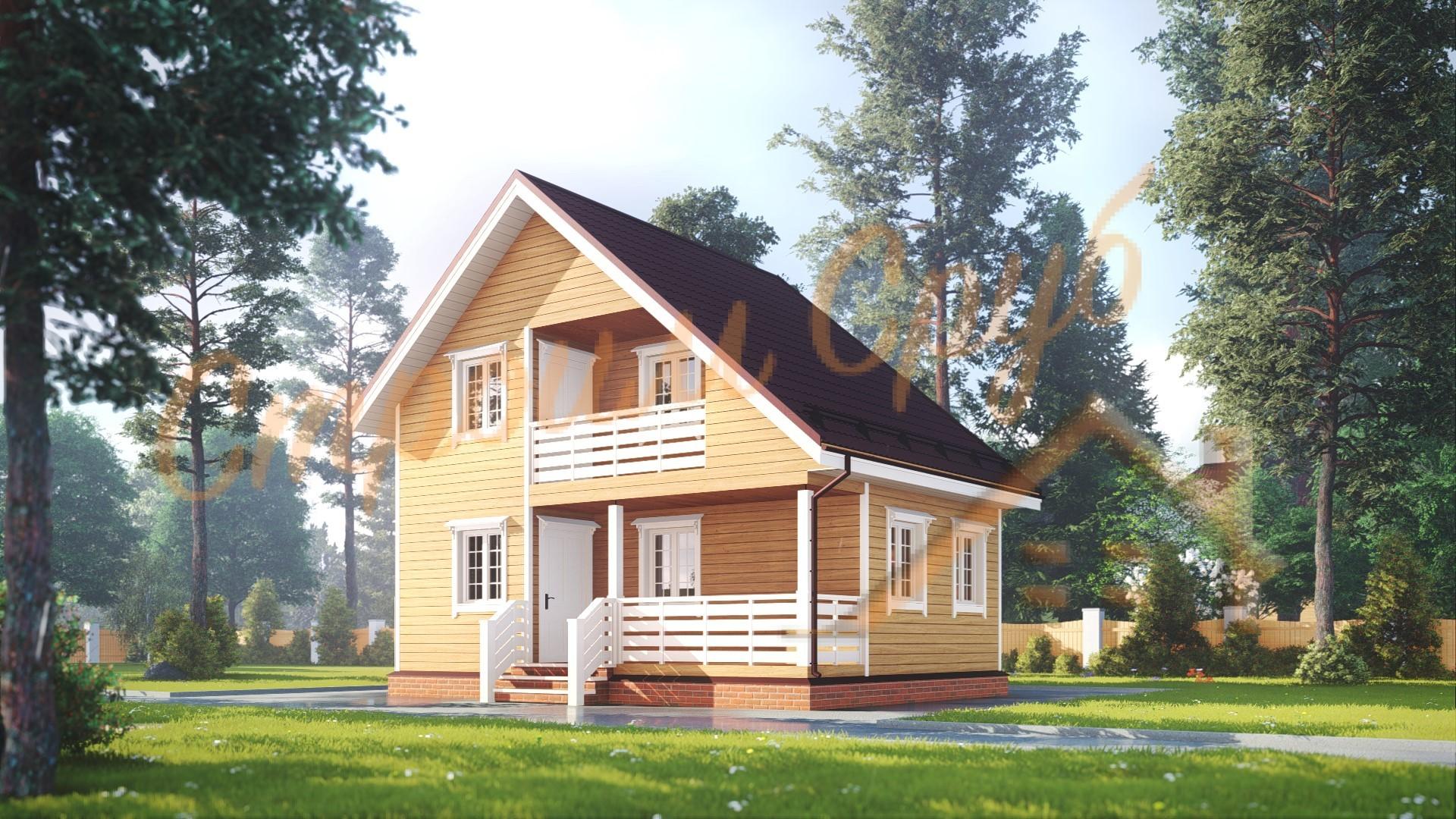 Дом из бруса 6х8 «Загородный»