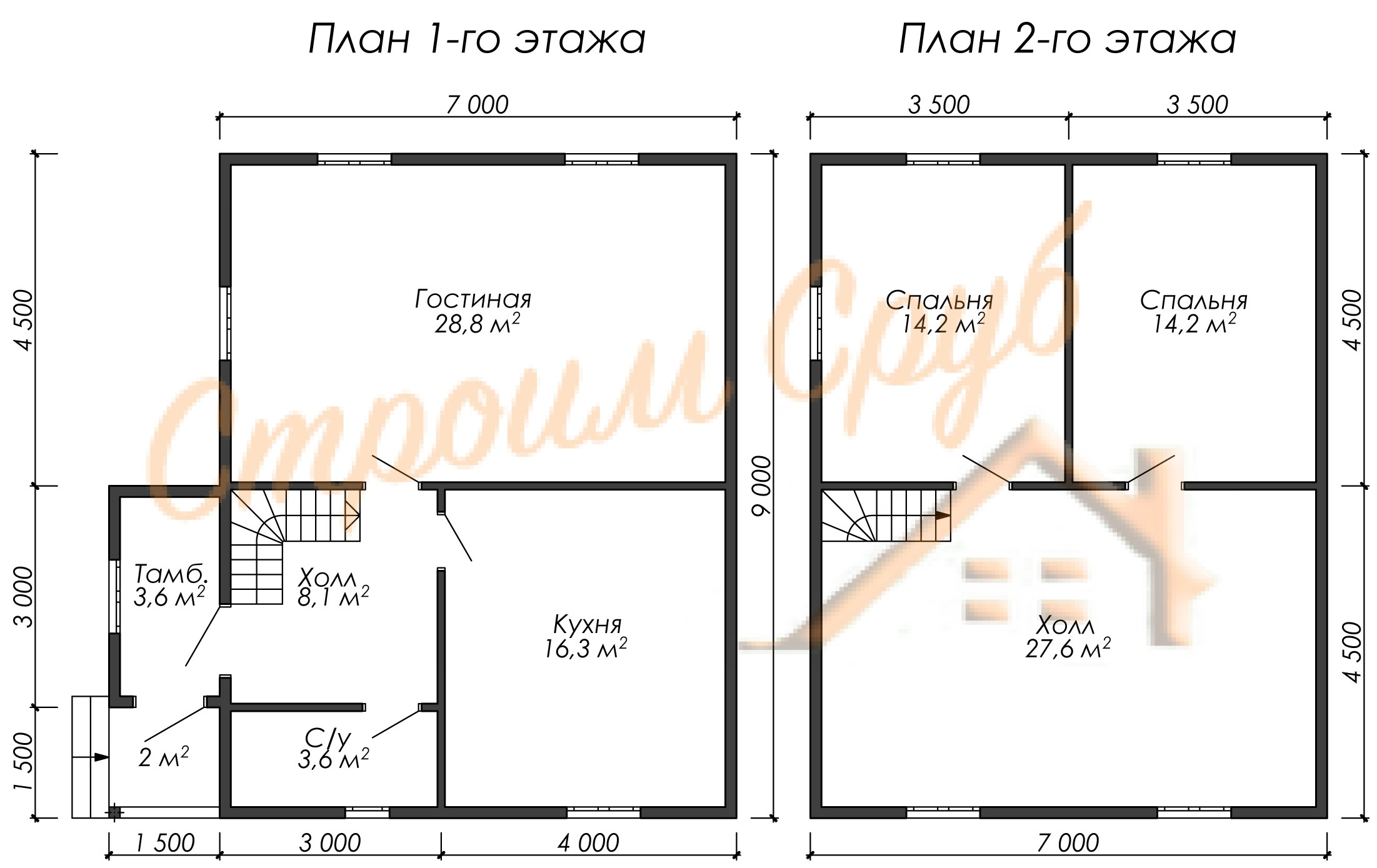 Дом из бруса 7х9 «Двухэтажный»