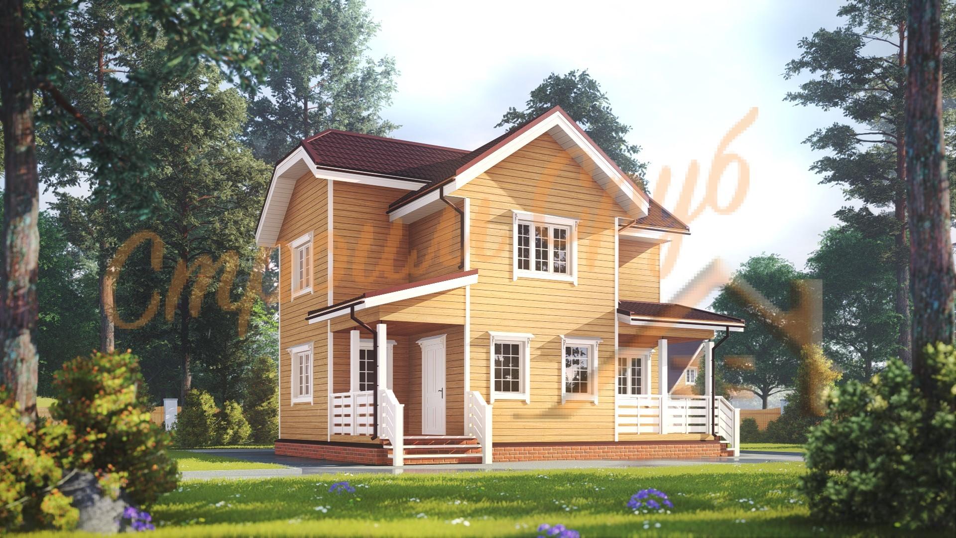 Дом из бруса 8,5х7 «Образцовый»