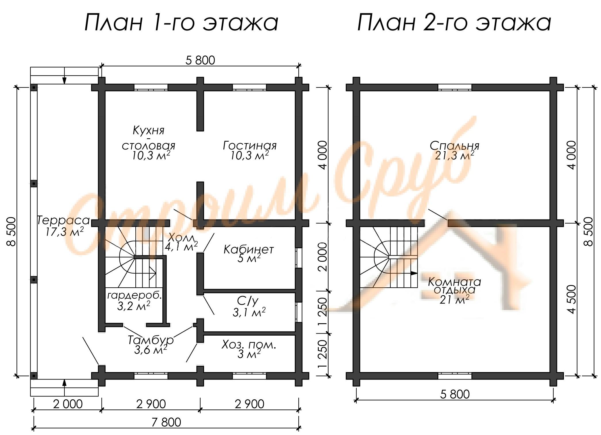 Проект дома из бревна №1