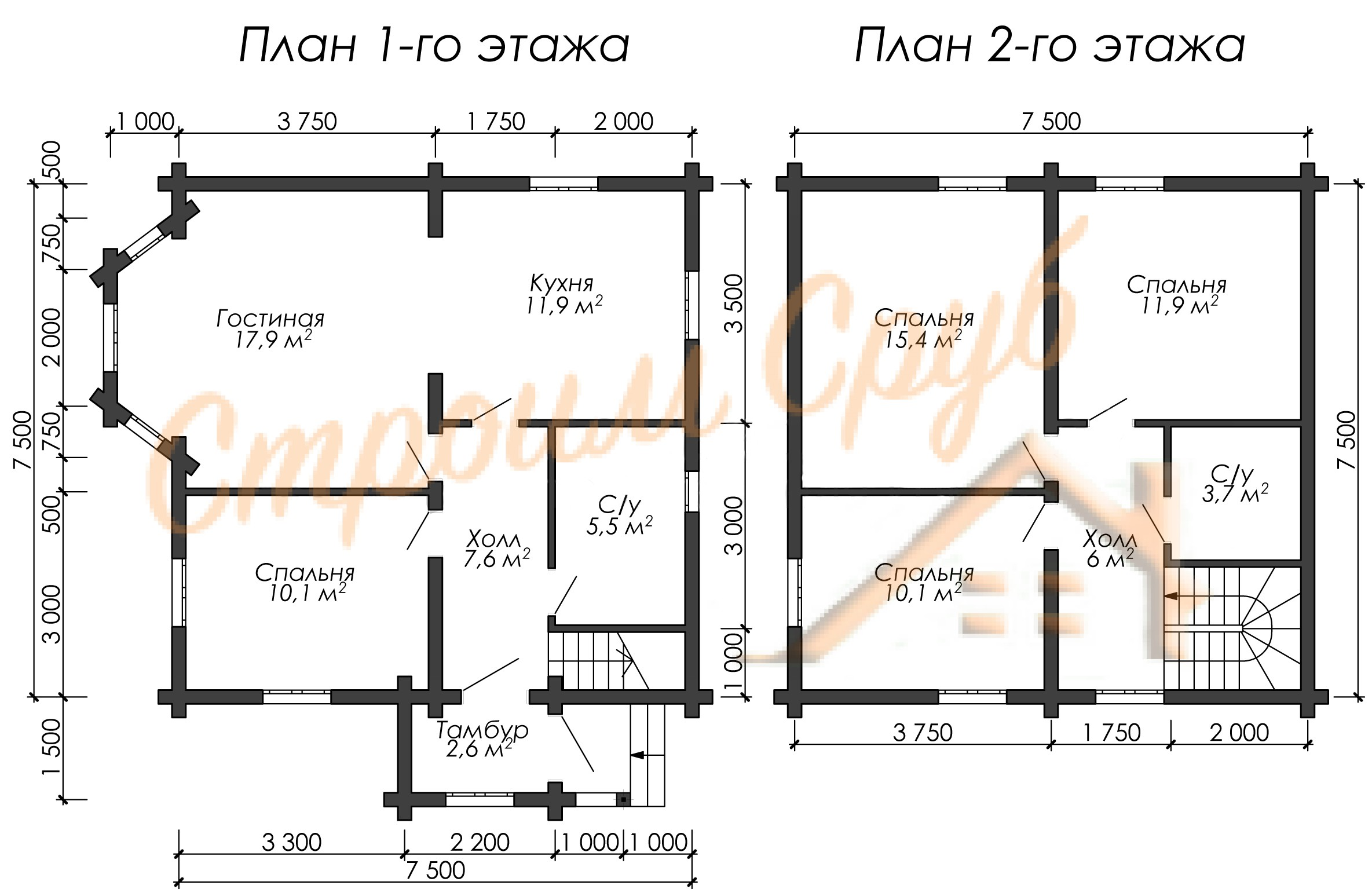 Дом из бревна 8,5х9 «Нужный»