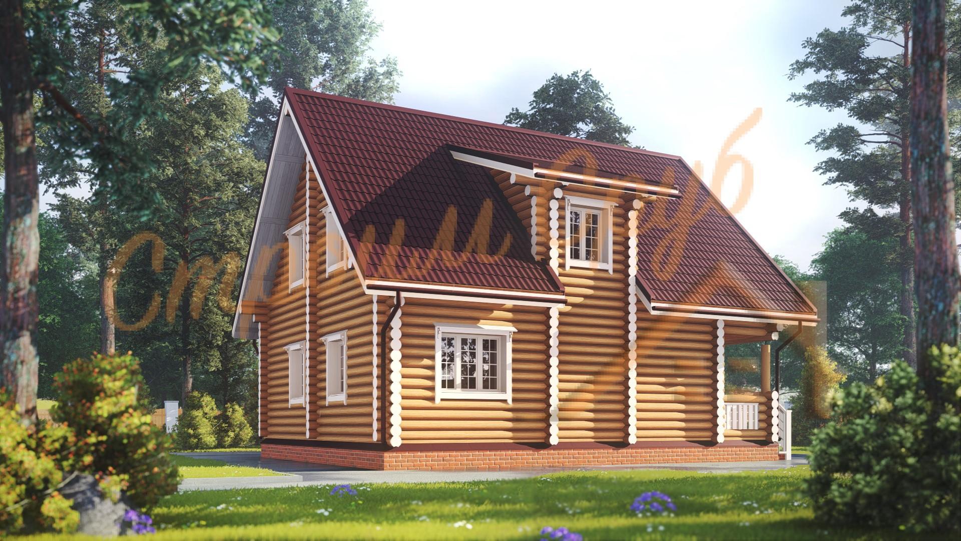 Дом из бревна 8х9,7 «Привлекательный»