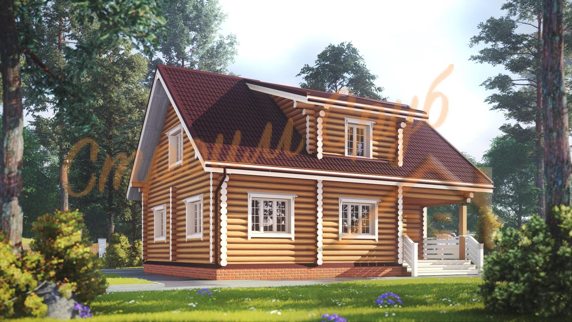 Дом из бревна 8,5х10,5 «Впечатляющий»