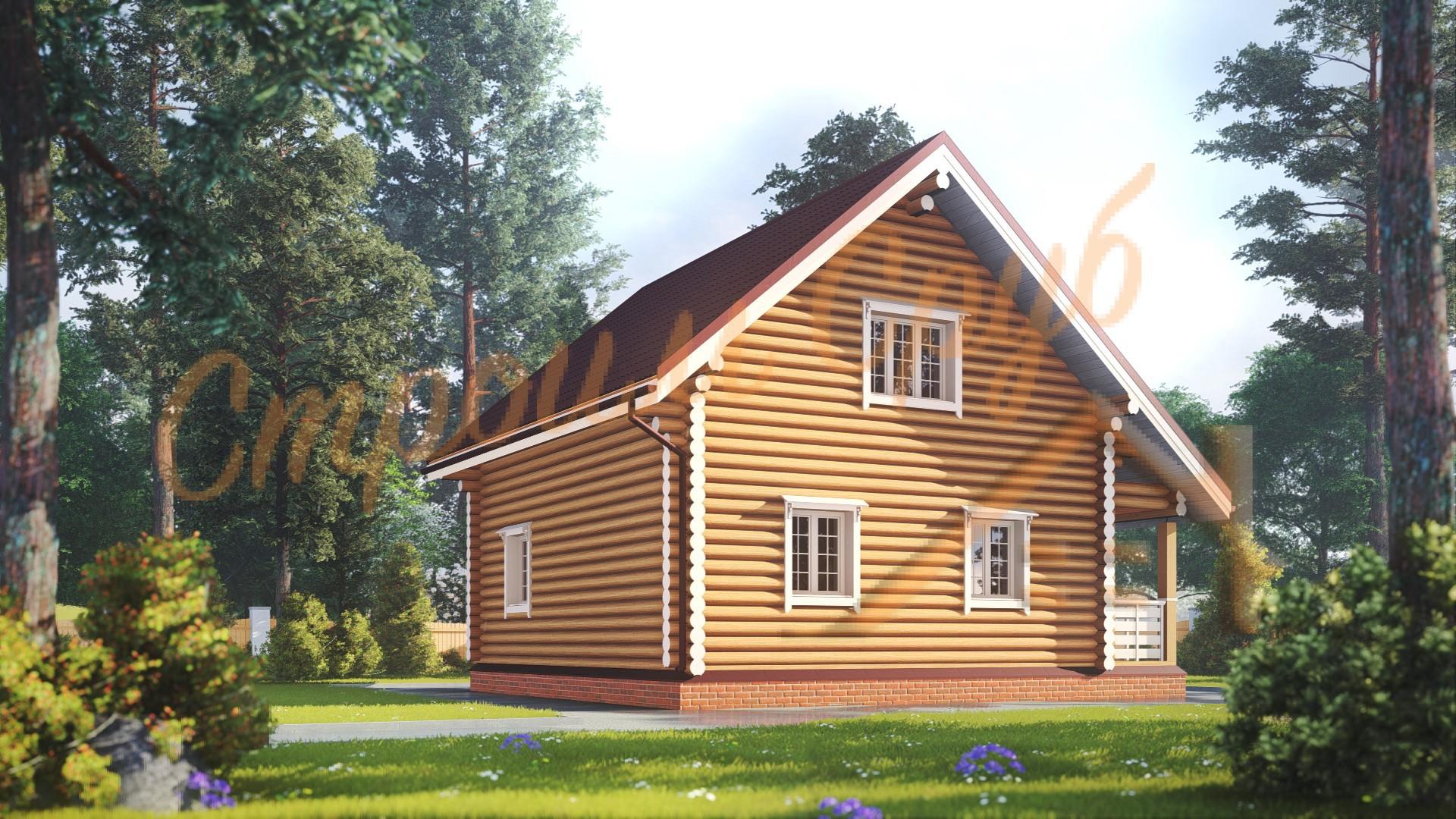 Дом из бревна 8,5х8 «Оптимальный»