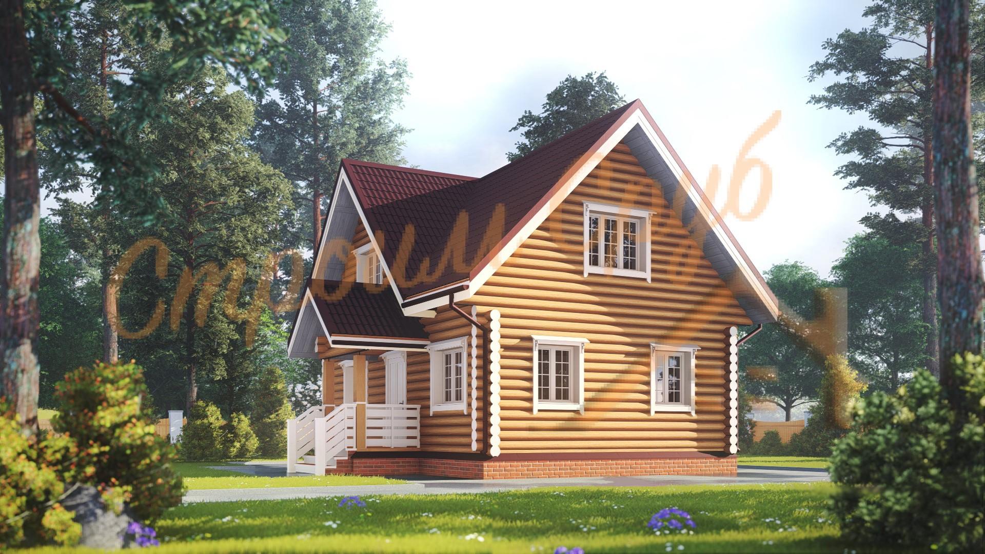 Дом из бревна 7,5х9 «Достойный»