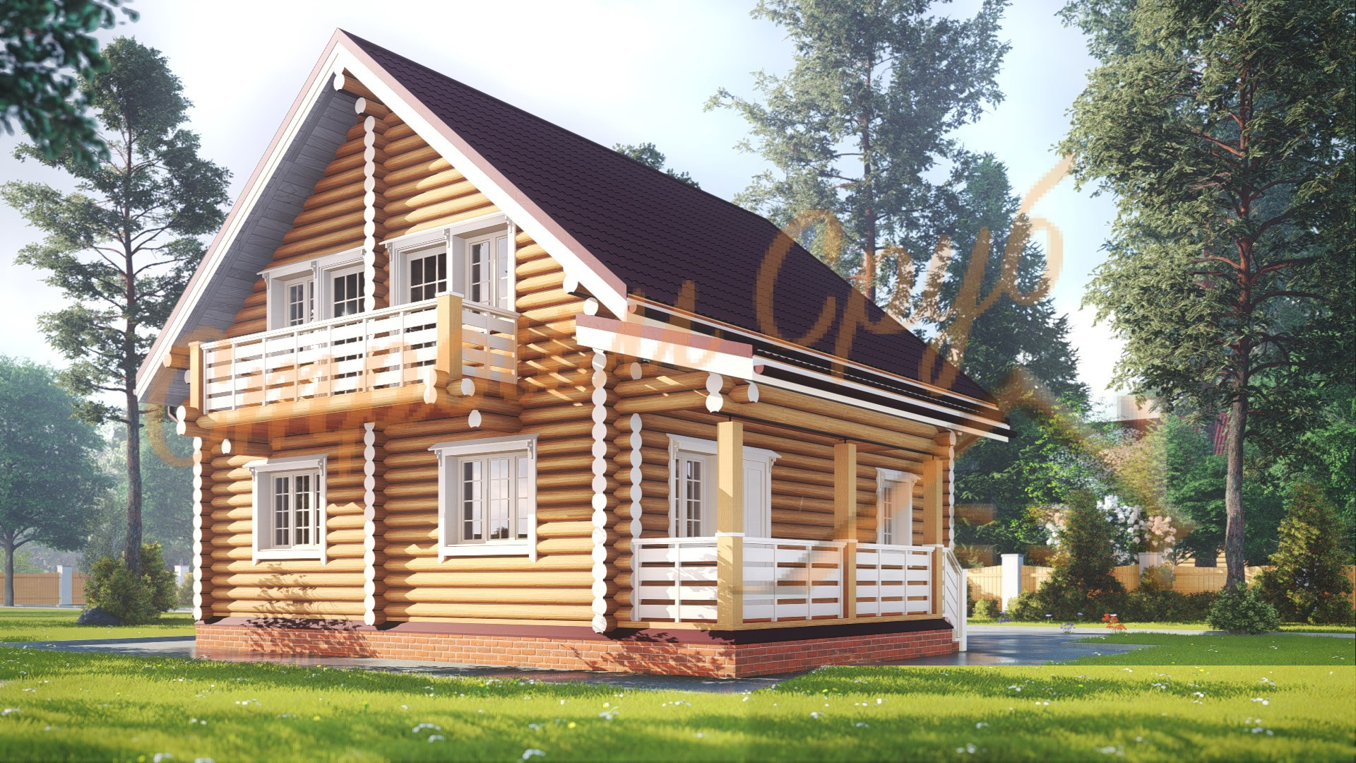 Дом из бревна 11,2х8,8 «Родной»