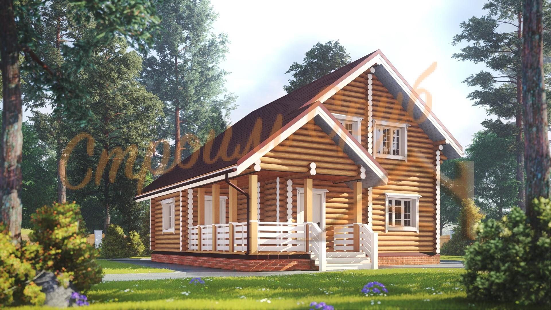 Дом из бревна 10,5х9 «Элегантный»